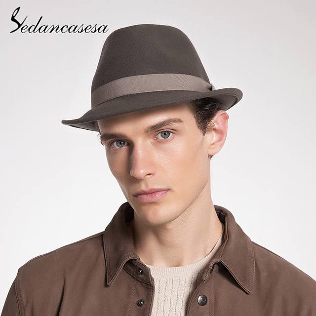 c5abaf5b4b Sedancasesa New Classic Trilby Hat Male Fedora Hat with 100% Australian  Wool Men Hat for Formal Church Hat FM033012
