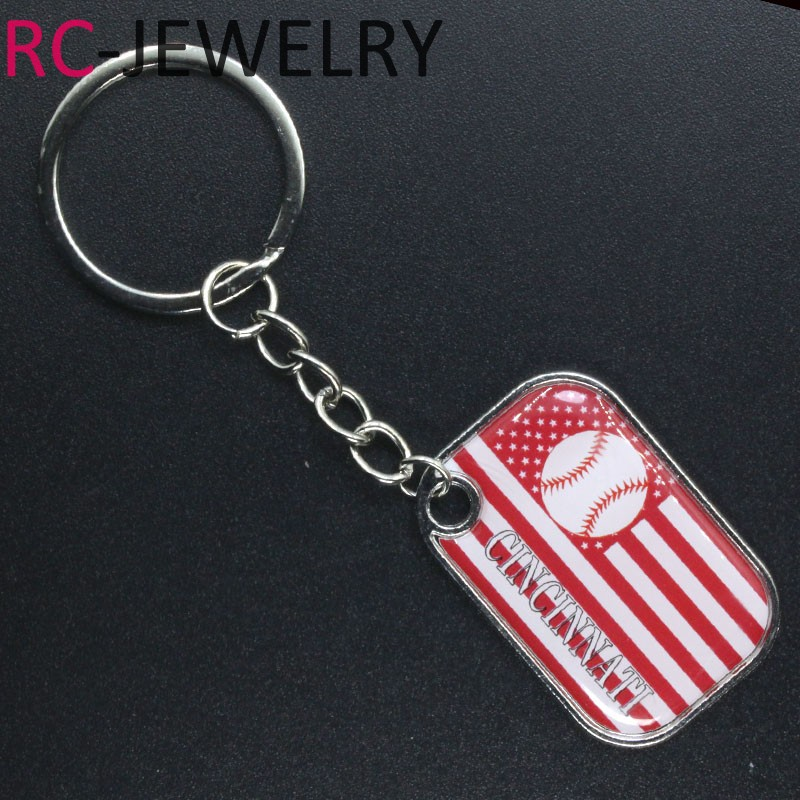 Hot selling 10pcs/lot America baseball Cincinnati Reds alloy Keychains Keyring Sport fans gifts