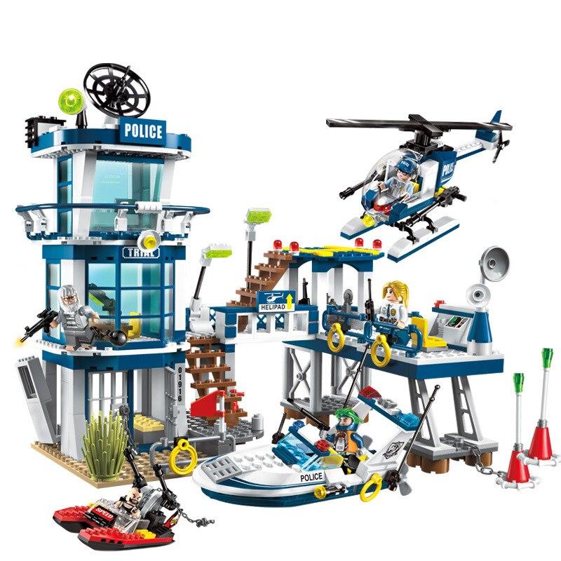 565 個子供の教育ビルディングブロック玩具互換 Legoingly 市警察シリーズ警察部門救助計画レンガ  グループ上の おもちゃ & ホビー からの モデル構築キット の中 1