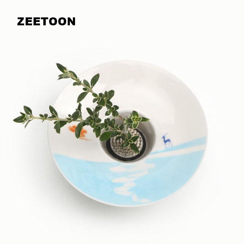 Japanese Style White Jade Porcelain Deer Flower Pot Tabletop Ceramic Vase Jardiniere Ikebana Kenzan Creative Ikebana Home Decor