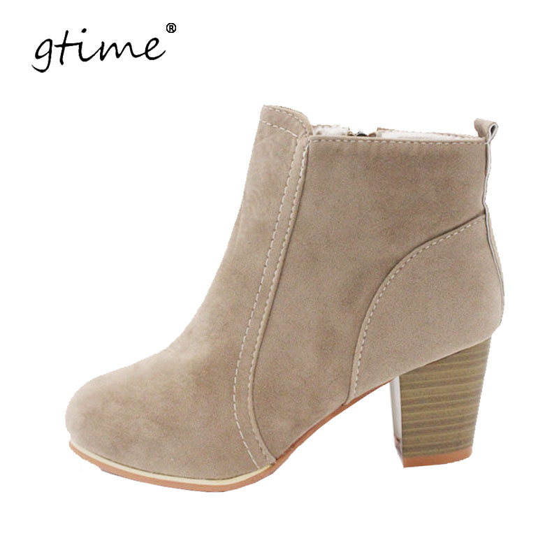 Autumn and winter short cylinder boots with high heels boots shoes Martin boots women ankle boots with thick scrub #CXL70 фигурка героя мультфильма legacy 501 s370 3 75
