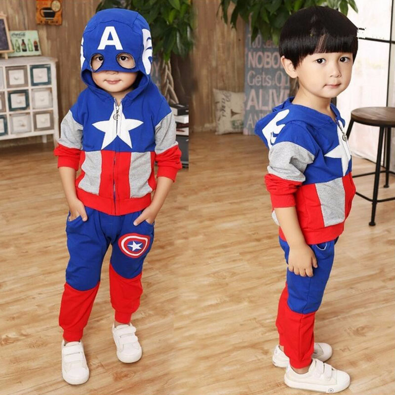 2018 New Fashion Anime Style Children Set Baby Boy Sport Sets Suit Cartoon Captain America Hoodie Sweater + pants boys Clothes