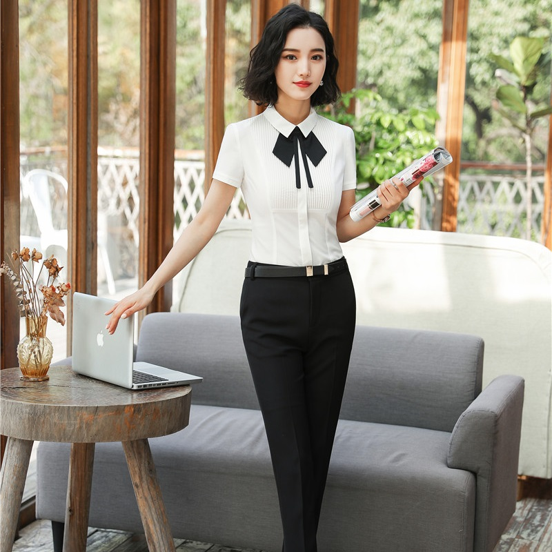 Novelty Ladies Pants Suits For Women Business Suits With Two Piece Blouses And Pant Sets Elegant Office Uniforms Plus Size