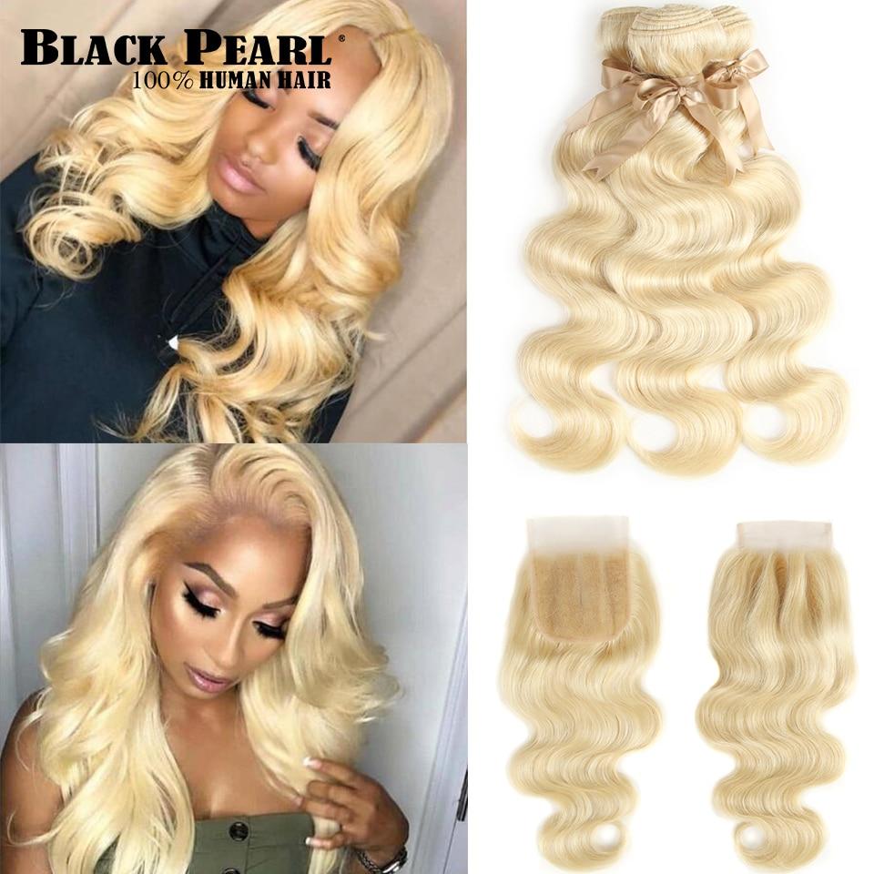 Noir Perle 613 Blonde Bundles Avec Fermeture Malaisienne Vague de Corps Remy cheveux humains 3 Bundles Avec Fermeture Livraison Gratuite