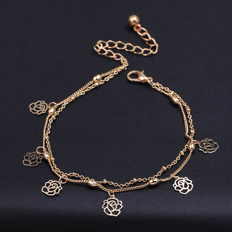 New arrival gold color mujeres pulsera tobillera rose ankle chain woman flower anklets foot jewelry 2016