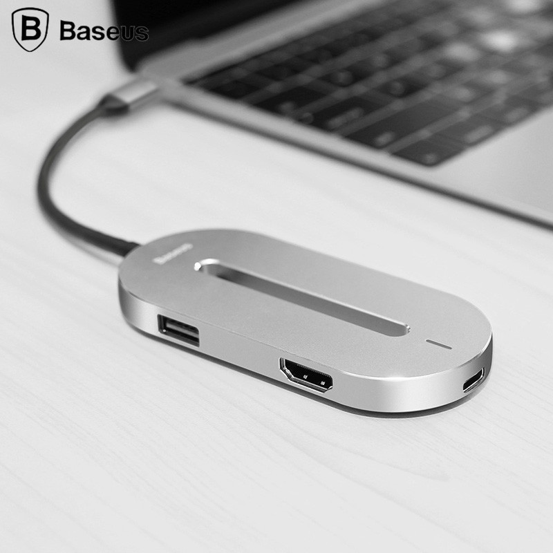 Baseus Universal HUB Type-c Converter Type C Male to HDMI USB 3.0 Type-c Female Adapter Cable For Macbook Pro Type-c Notebook universal multi function type c converter usb 3 1 to vga hdmi usb hub converter charger type c adapter for apple for macbook