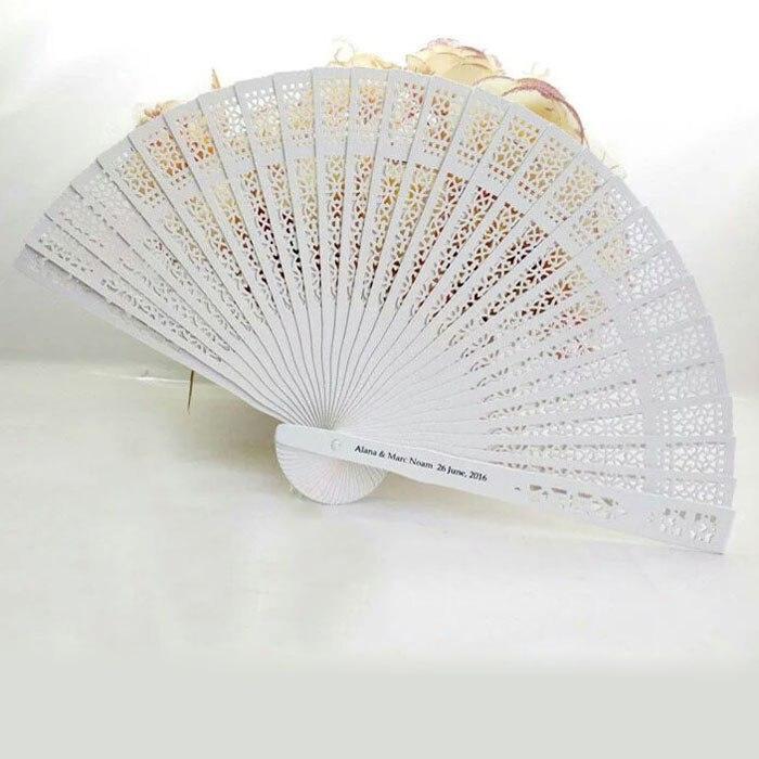 100pcs Sandalwood White Wedding Fan Favors Personalized Folding Hand Fan With Bride Groom Name Date