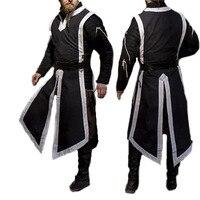 Для мужчин средневековый Викинг Норман костюм воина Tabard Туника защитник гвардии Длинный топ без рукавов жилет разрез рубашка для взрослых