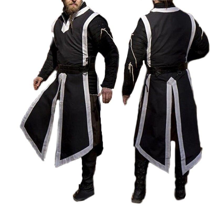 Men's Medieval Viking Norman Warriors Costume Tabard Tunic Defender Guard Long Top Sleeveless Vest Slit Shirt For Adult Men