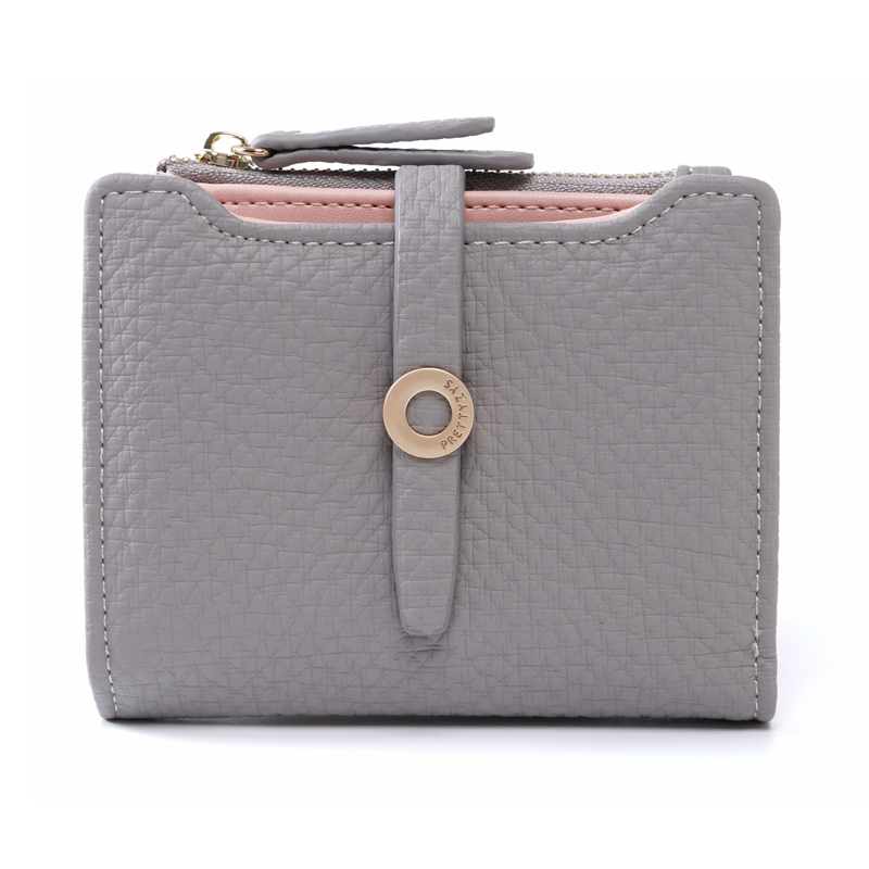 Prettyzys 2018 Women Short Wallet Card Holders Coin Purse Zipper Money Bag Small Mini Female Leather Fashion Luxury Brand Light