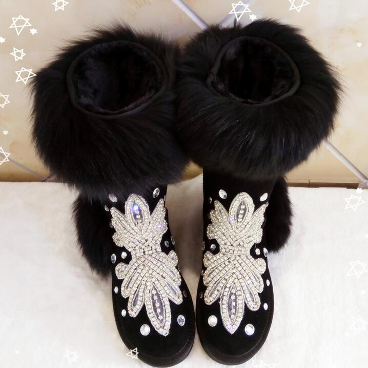 Hot Selling Black Fur Winter Boot for Women Bling Bling Crystal Embellished Flat Winter Boots Women High Quality Snow Ankle Boot pair of stylish flower shape and lace embellished knitted boot cuffs for women