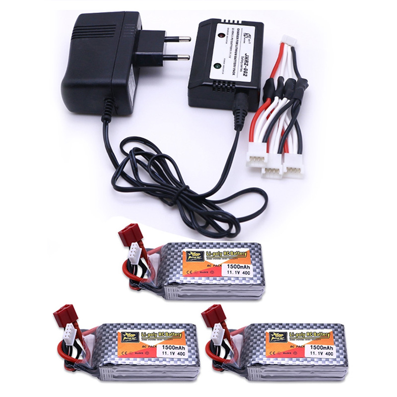 <font><b>LiPo</b></font> Battery 11.1V <font><b>1500Mah</b></font> <font><b>3S</b></font> 40C MAX <font><b>60C</b></font> T Plug with 3in1 <font><b>Lipo</b></font> Charger and Cable For RC Car Airplane boats Helicopter Parts <font><b>3S</b></font> image