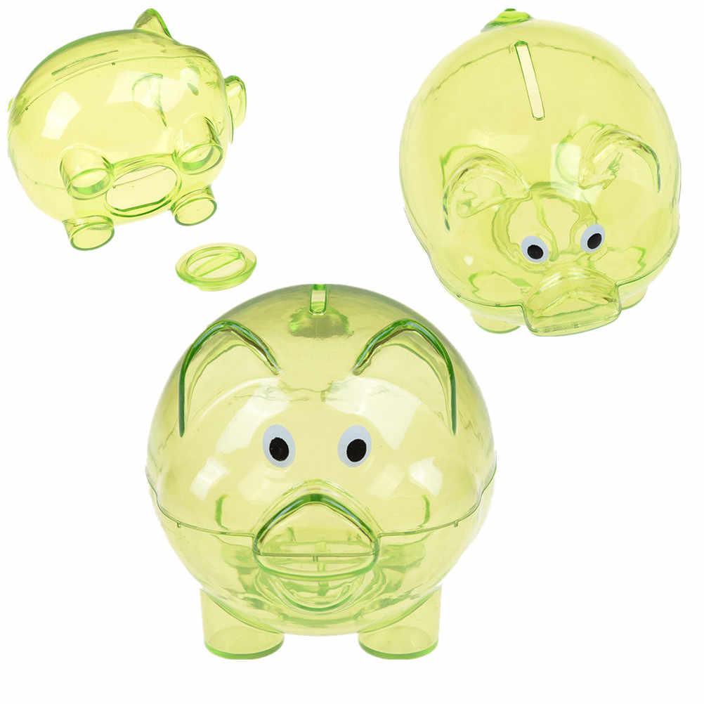 1 pcs cochon de bande dessinée en forme de pièces de monnaie transparentes tirelire mignon en plastique caisse d'économie d'argent