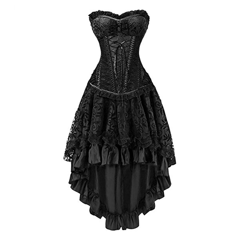 7efb992354 Black Corpetes E Corselet Steampunk Dresses Victorian Dress Sexy Gothic Clothing  Corsets And Bustiers Burlesque Corset Skirt Set