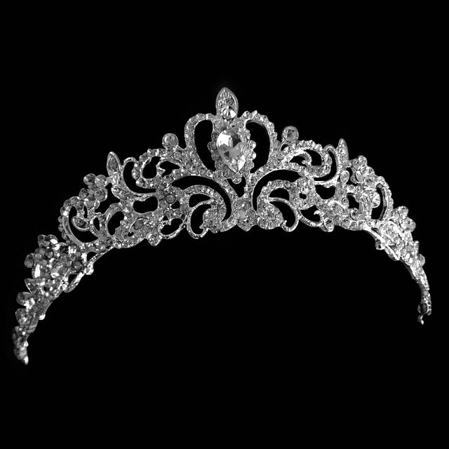 New Women Princess Crown Headband Rhinestone Crystal Tiara Crowns Hair Band Jewelry Silver Bridal Wedding Hair Accessories