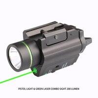PISTOL LIGHT GREEN LASER COMBO SIGHT 200 LUMEN For Ruger P95 Glock 1911 Full Size Rail