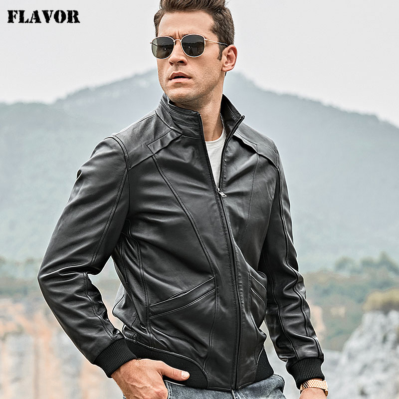 FLAVOR Men's Real Leather Jacket Men Lambskin Motorcycle Genuine Nappa Leather Jacket With Standing Collar Coat