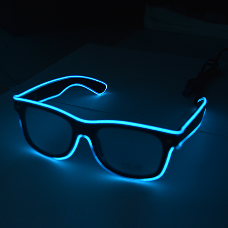 Blue Color EL Wire Glasses Growing Luminous Halloween Party Sunglasses Eyewear For Event Supplies DJ Club Stage Show