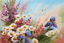 Laeacco Oil Painting Flowers Floret Wallpaper Home Decor Pattern Photographic Backgrounds Photography Backdrops Photo Studio