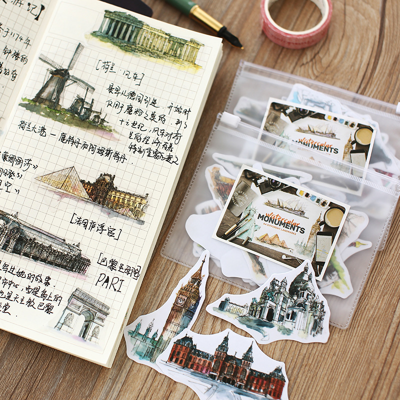 44 Different Landmark World City Scenery Sticker DIY Travel Diary Decoration Painting Building Sticky Paper Water Color Monument