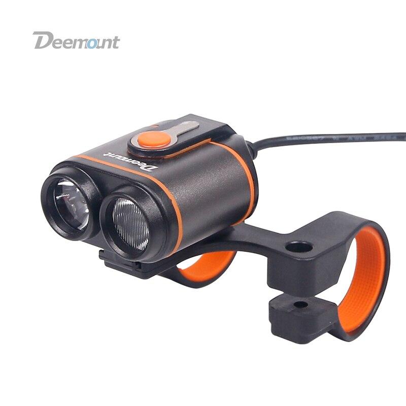 Deemount Велоспорт шрифт лампа 8-22,5 часов 400Lm фар велосипед светодиодный светильник переднего освещения Flash Фонари Torch 18650 Батарея комплект