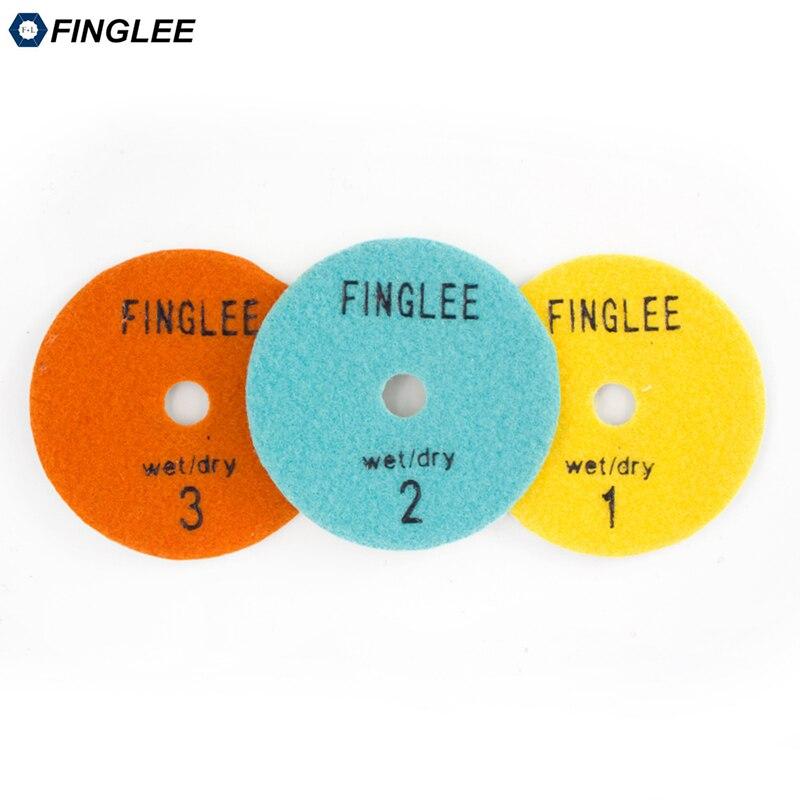 Купить с кэшбэком FINGLEE 3 Step Diamond Dry Polishing Pad  4 inch/100mm Diamond Resin discs for Granite Marble Quartz