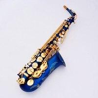 Francuski Lehmann E płaskim saksofon altowy saksofon instrument muzyczny złoto błękitny i ustnik akcesoria