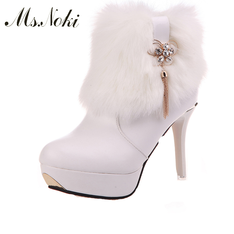 Ms. Noki warm Sexy fur Thin heel snow boots women winter fashion ankle boots big size black brown Crystal color dropshipping Hot ms noki fur new fashion style black ankle boots flats pointed toe back slip on boots pu flock woman shoes with warm fur outside