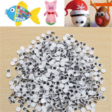 цены New 1000pcs 6mm Round Wobbly Googly Eye Self-adhesive for Clothes Scrapbooking Teddy Bear Stuffed Toy Snap Animal Puppet Doll