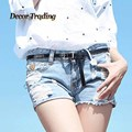 New summer 2016 fashion jeans shorts women denim female shorts solid blue short Jeans ripped hole women's shorts 3379