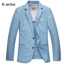 2016 linen two button males's blazer spring summer season slim males's jackets plus measurement beige blue terno masculino autumn males's skinny coat