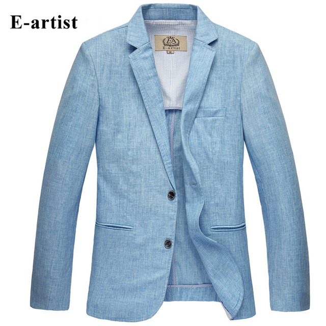 2016 linen two button men's blazer spring summer slim men's jackets plus size beige blue terno masculino autumn men's thin coat