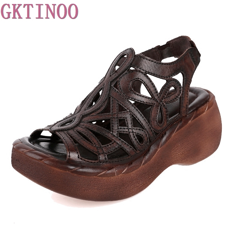 100% Genuine Leather Women Sandals Cut Out Platform Wedges Cowhide Open Toe Handmade Sum ...