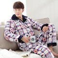New 2017 Winter Casual Men Pajamas Sets Cotton Padding Plus Velvet Thick Warm Sleepwear Suits Male Home Wear Clothes Lounge