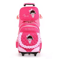 Kids girls Trolley Schoolbag Luggage Book Bags Backpack Latest Removable Children School Bags Wheels easy Climbing stairs Pink