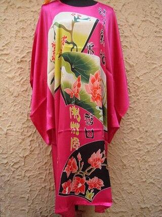 Plus Size 6XL Black Chinese Traditional Womens Robe Silk Rayon Nightgown Kaftan Novelty Print Bath Dress Gown Flower RB031