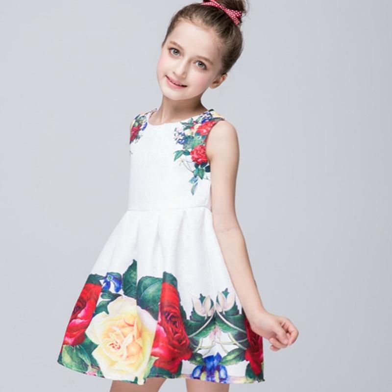 Printed Cherry Kids Girl Dress Summer Sleeveless Cotton Fashion Children Dresses