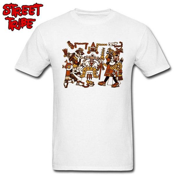 79ae7f3a9 Aztec T-shirt Men Unique T Shirt Indian Tribal Art Tops Summer White Cotton  Tees Guys Funny Tattoo Tshirt Custom Clothes