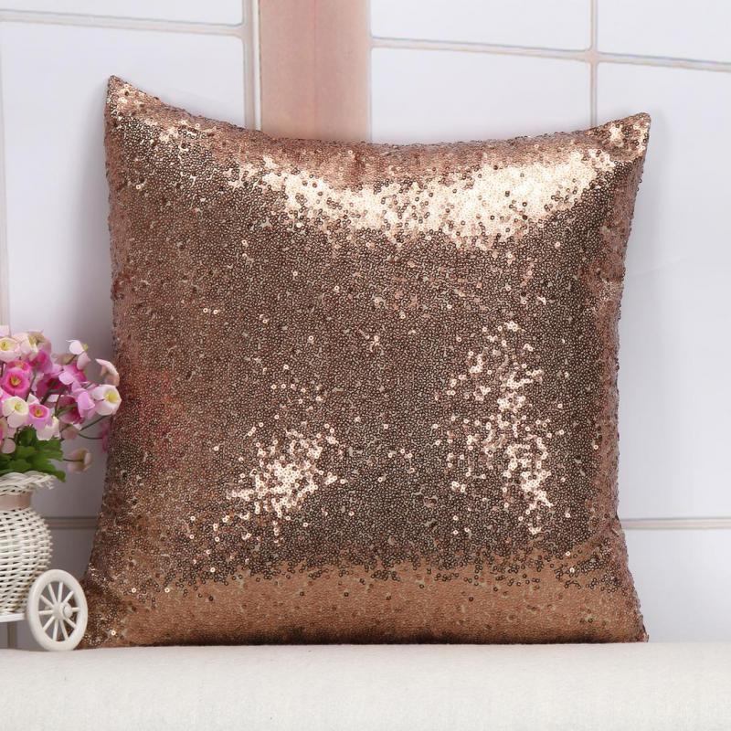 40*40 Cm Home Decorative Solid Color Sequins Throw Pillow Sofa Office Chair Seat Sequins Cushion Factory Direct Sales