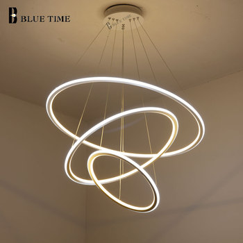 White Circle Led Pendant Light for Living room Dining room Kitchen Modern Pendant Lamp 40 60 80cm Hanging Lamp Fixture 110V 220V modern pendant lights spherical design white aluminum pendant lamp restaurant bar coffee living room led hanging lamp fixture