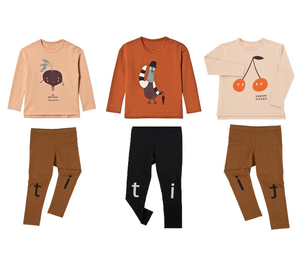 Tiny Baumwolle Kinder Kleidung Set Baby Jungen Langarm T-shirt Kirsche Taube Grafik Tops T Mädchen Brief Leggings Hosen Anzug 1-7Y