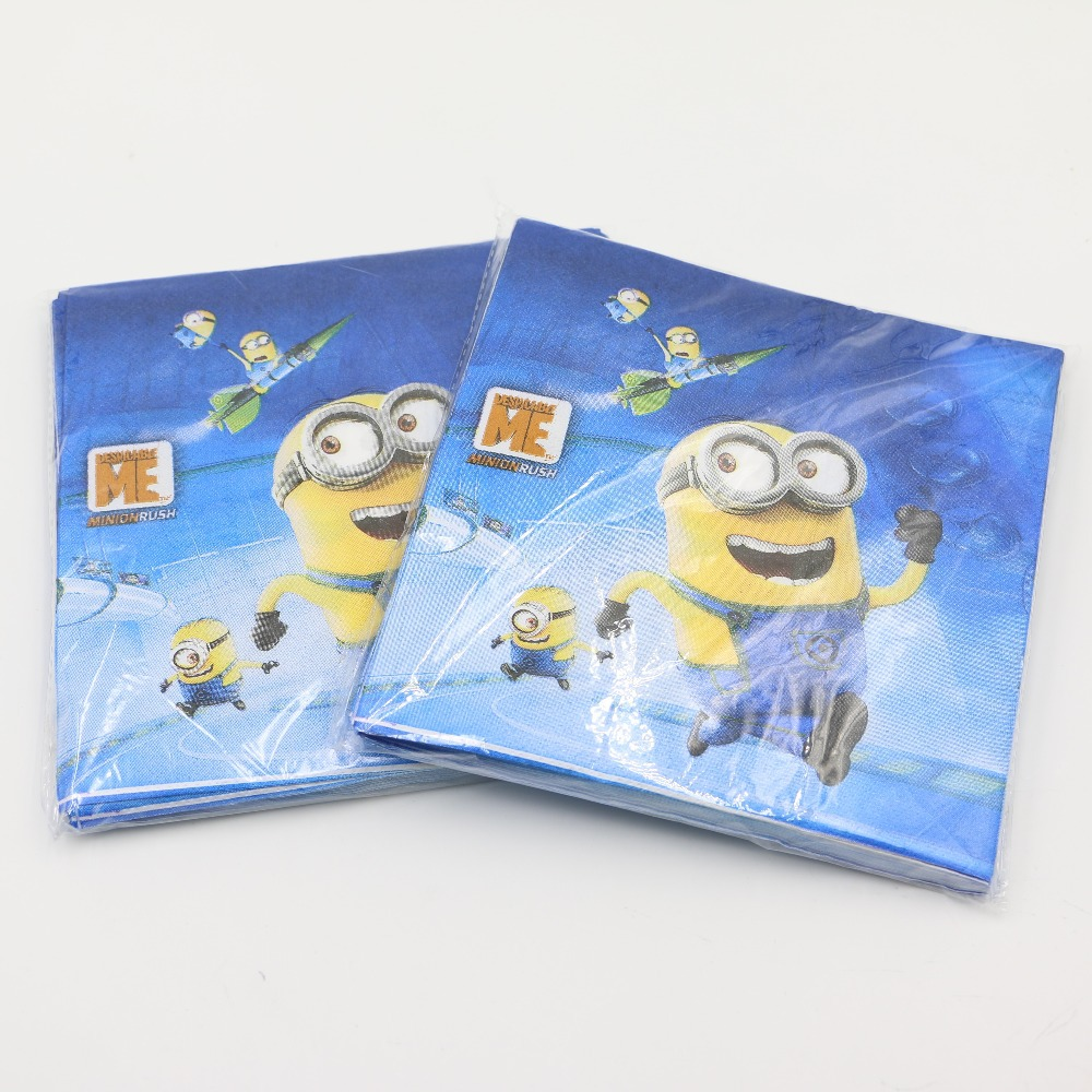 Color printing paper - Hot Popular Color Napkin Cartoon Printed Towel Birthday Party Supplies Minions Party Supplies Tissue Paper 33cm