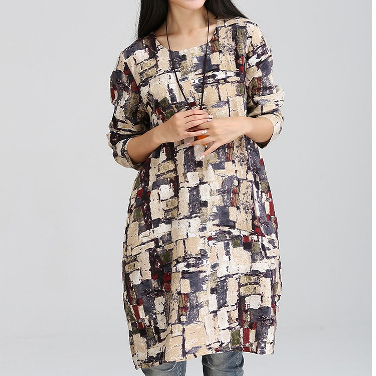 Fashion Pregnant Women Spring/autumn Maternity Clothing print Dresses cotton and linen blend Maternity skirts FY15543