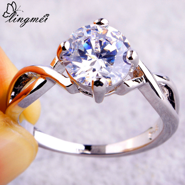 lingmei Free Shipping Wholesale Round Cut AAA White CZ Silver Ring Size 6 7 8 9