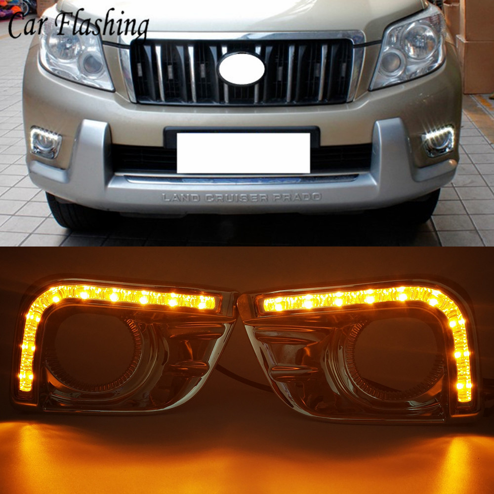 Car Flashing 1Pair Car LED DRL Daytime Running Light for Toyota Prado FJ150 LC150 Land Cruiser