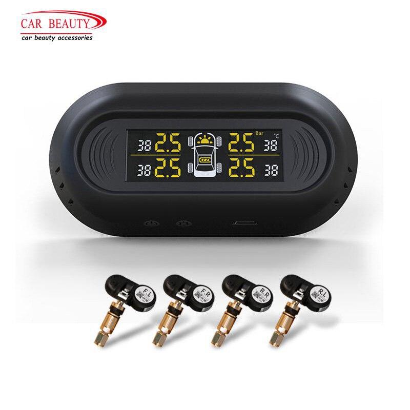 Solar Charging Internal Car TPMS Tire Pressure Monitoring System Intelligent Digital LCD Display Vehicle Tire Gauges Alarm Kit цена