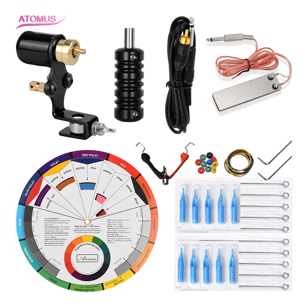 Tattoo Clip Cord Tip Tattoo Needle Needling Machine Set Kit Complet Professionnelle Kits Rotary Pedal Professional Tatoo Para in Tattoo Guns from Beauty Health