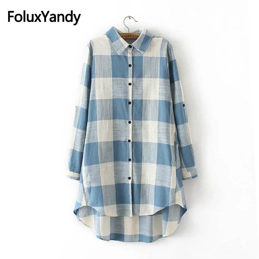 Women Cotton and Linen   Blouses   Long Sleeve Plus Size 3XL Casual Plaid Long   Blouse     Shirt   KKFY2263oil