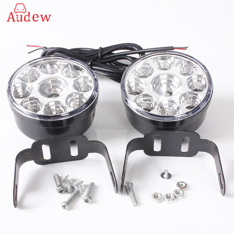 2Pcs White 12V 4.5W 9 LED DRL Round Daytime Running Light Car Tail Fog Day Driving Lamp for Truck Van SUV ATV Motorcycle Bike 1 pair metal shell eagle eye hawkeye 6 led car white drl daytime running light driving fog daylight day safety lamp waterproof