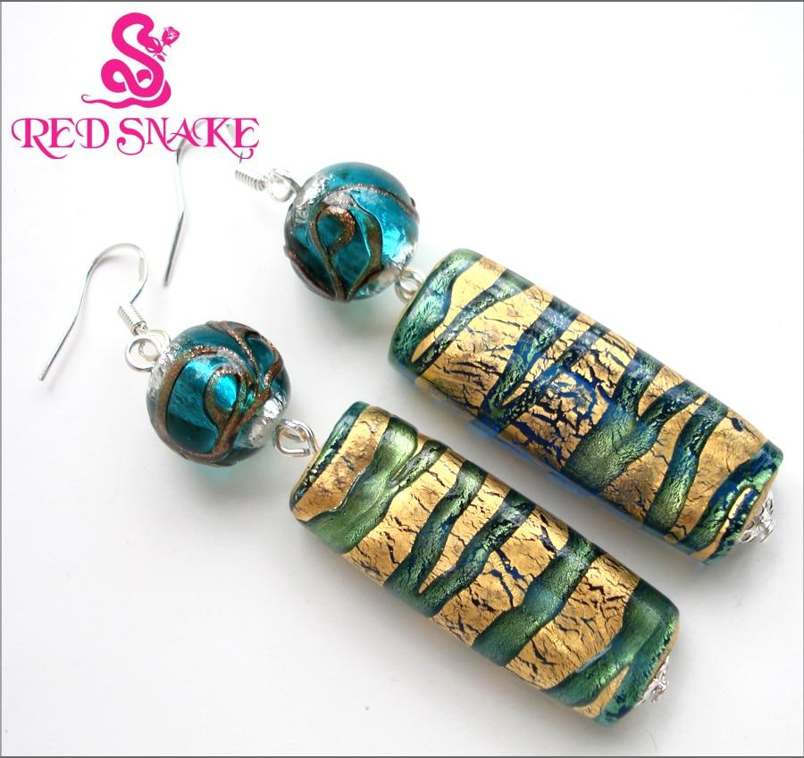 Røde SNAKE Mode dingle øreringe Håndlavede klassiske grønne og gyldne papir Lang rektangel Murano glasperleørering